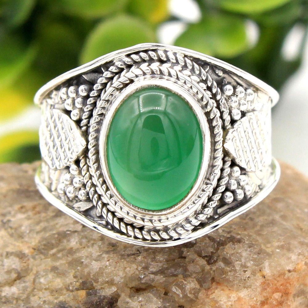 Green Onyx Handmade Jewellry 925 Sterling Silver Plated 6 Grams Ring Size 9 US Designer Jewelry
