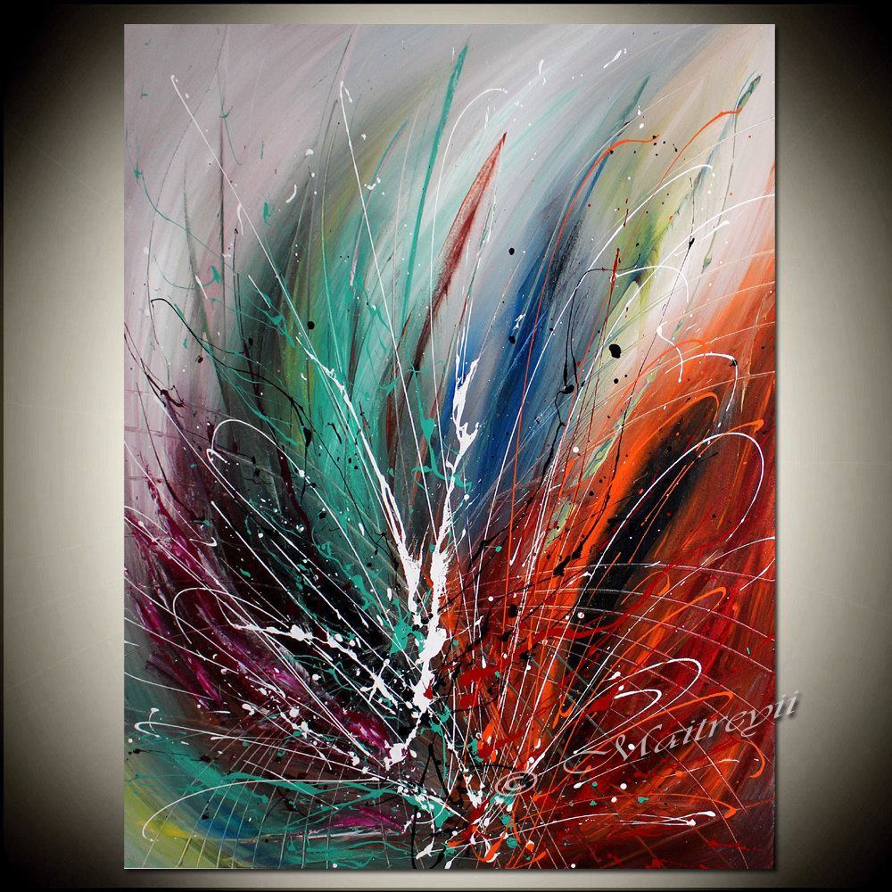Large Wall Art ABSTRACT PAINTING on Canvas, Red Modern Art ...