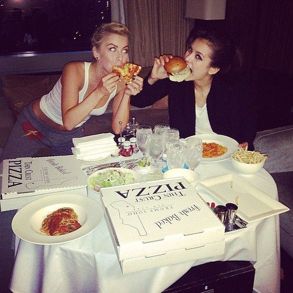 Julianne Hough and Nina Dobrev indulged after a night of high fashion... ❤ liked on Polyvore featuring nina dobrev and instagram