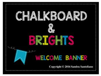 Welcome students to your classroom with this chalkboard & brights banner. These cute banners have a colorful background with a dashed trim outline. This is also available in Chalkboard & Brights Spanish Chalkboard Brights Bienvenidos a Nuestra Clase BannerRead Chalkboard Brights Pennant and Banner