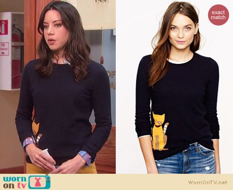 Aprils Navy Sweater With Cat On It On Parks Recreation Outfit