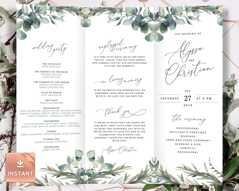 Mari Trifold Wedding Programs With Eucalyptus Folded Boho Etsy Wedding Programs Wedding Programs Template Ceremony Programs Tri fold wedding invite template