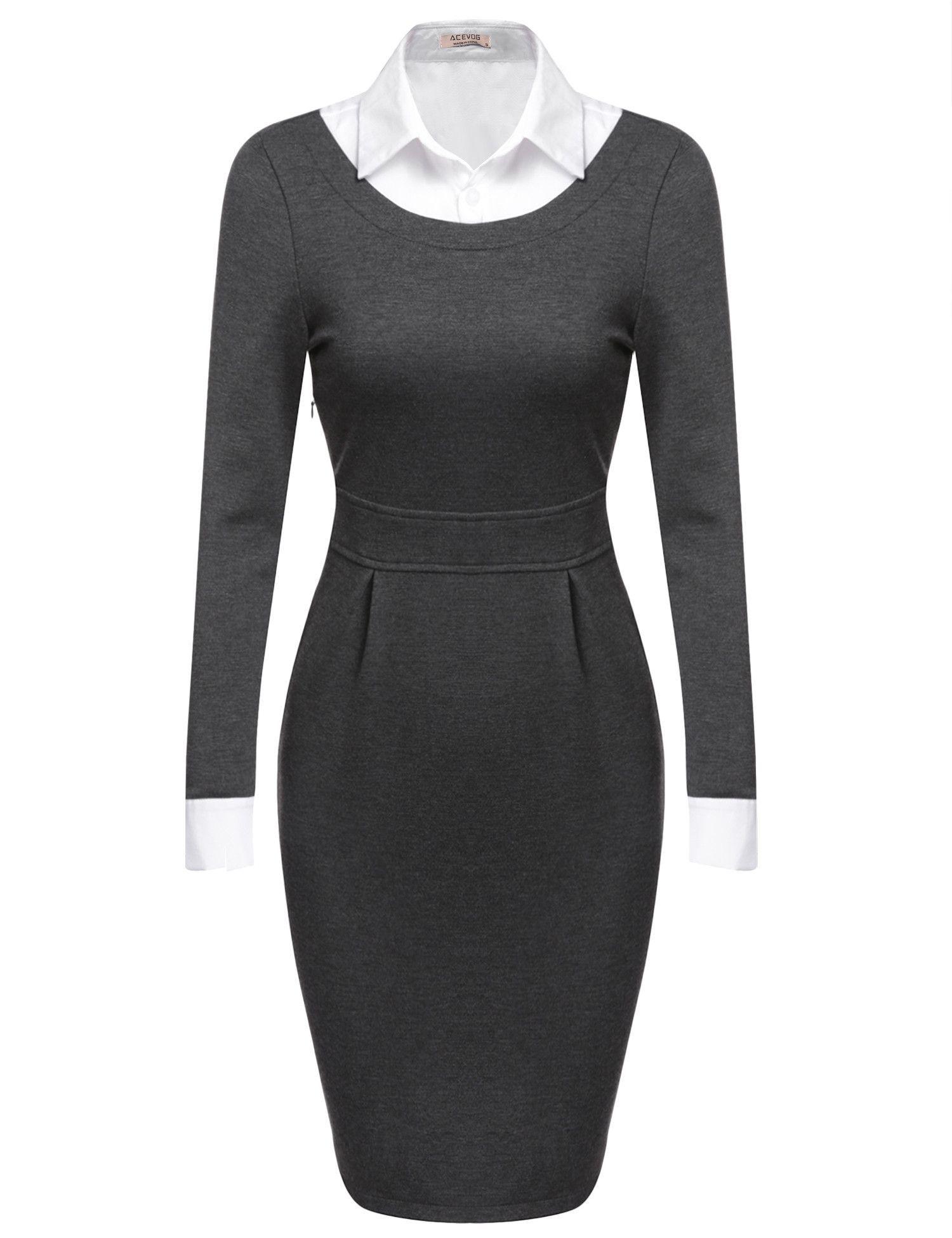 6785ee7c41d Dark gray Women Turn Down Collar Long Sleeve Bodycon Business Pencil Work  Dresses