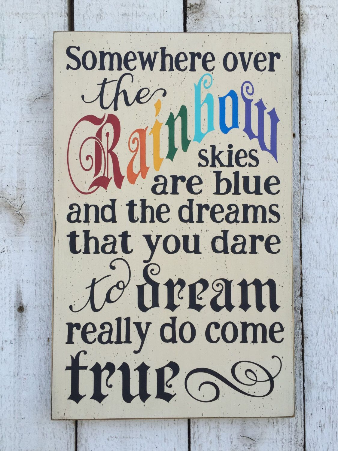 Somewhere over the rainbow - hand painted distressed rustic wood - Wizard Of Oz Halloween Decorations