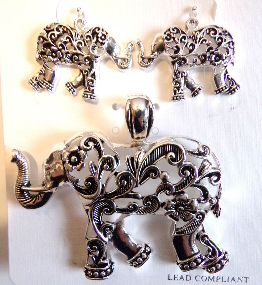Elephant Pendant with Matching Earrings Silver Tone Set  #IconCollection #PendantEarrings