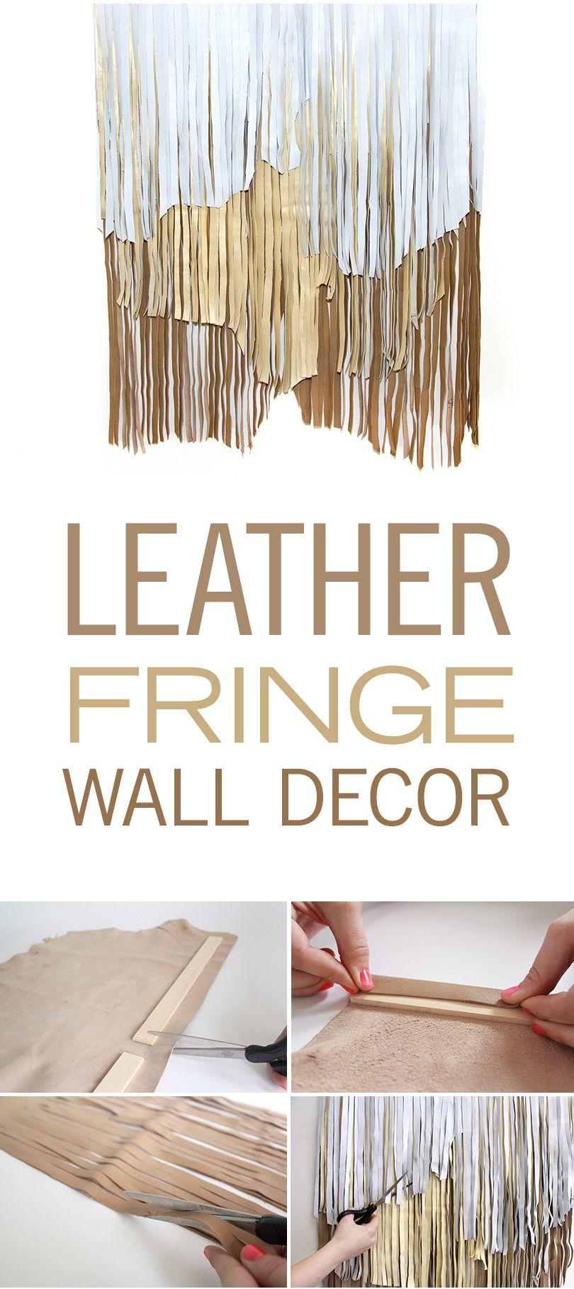 Leather fringe wall decor diy do pinterest leather fringe
