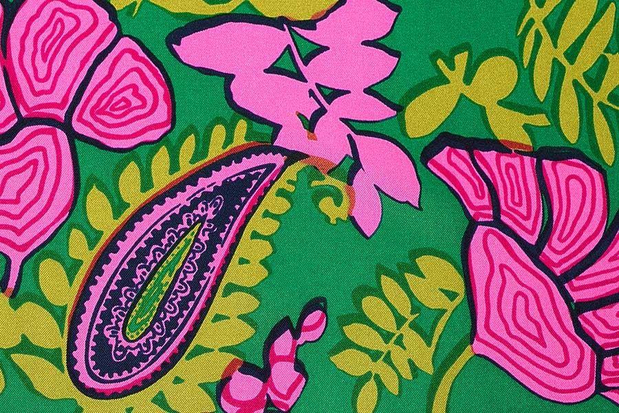 1960s Influenced Emerald & Magenta Paisley Silk Twill - Silk Print Fabric - Silk Fabric - Fabric | Britex Fabrics