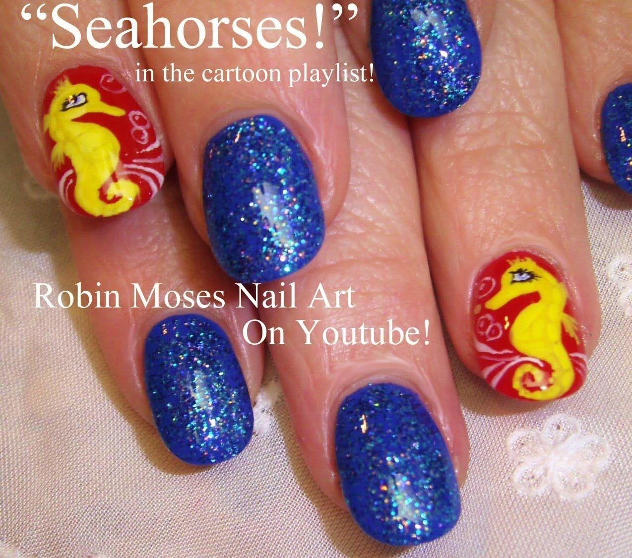 Nail Art Tutorial | DIY Easy Seahorse Nails | Nautical Nail Design ...