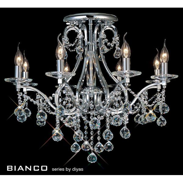Diyas bianco 8 light chrome asfour crystal chandelier for low ceilings