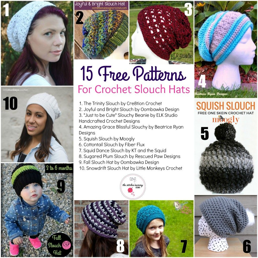 15 Free Patterns for Crochet Slouch Hats | Gorros, Tejido y Accesorios