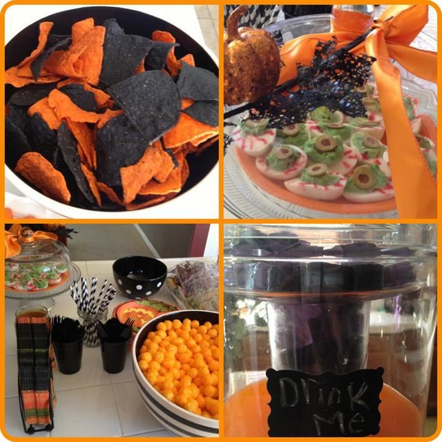 halloween party food orange and black chips so simple so awesome