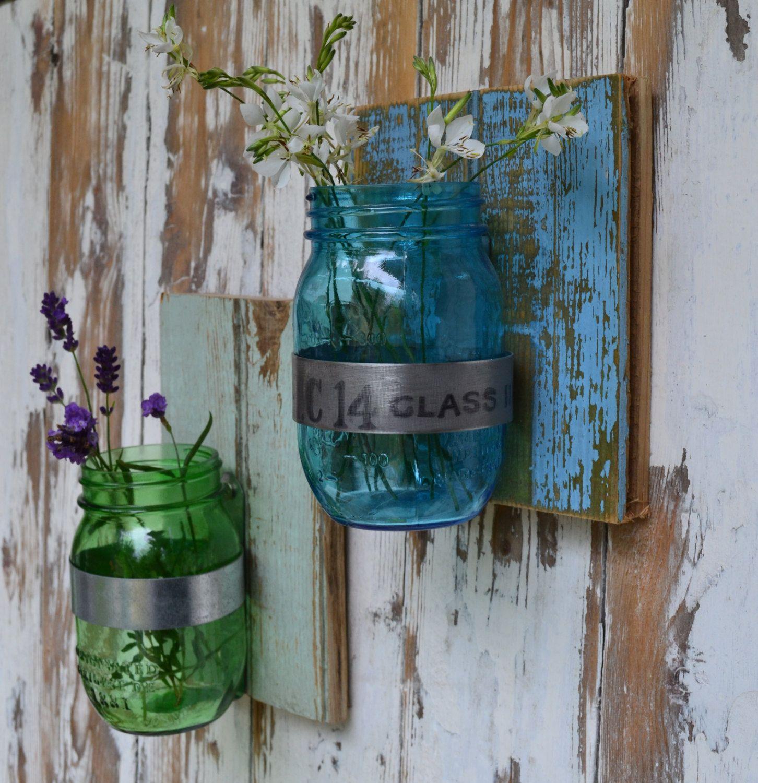 Mason Jar and Recycled Wood/Blue jar on Distressed Blue Wood/Wall ...