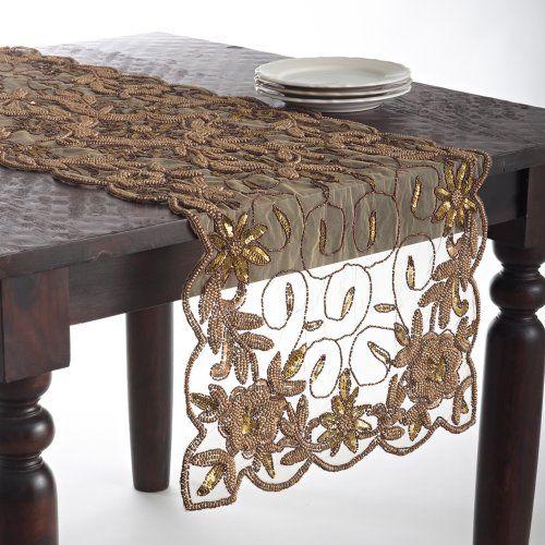 "Stunning Cersei Hand Beaded Gold Table Runner, 16""x72"" Rectangular, One Piece Fennco,http://www.amazon.com/dp/B00G2S1MRE/ref=cm_sw_r_pi_dp_SXrqtb0KX4ADH4PJ"
