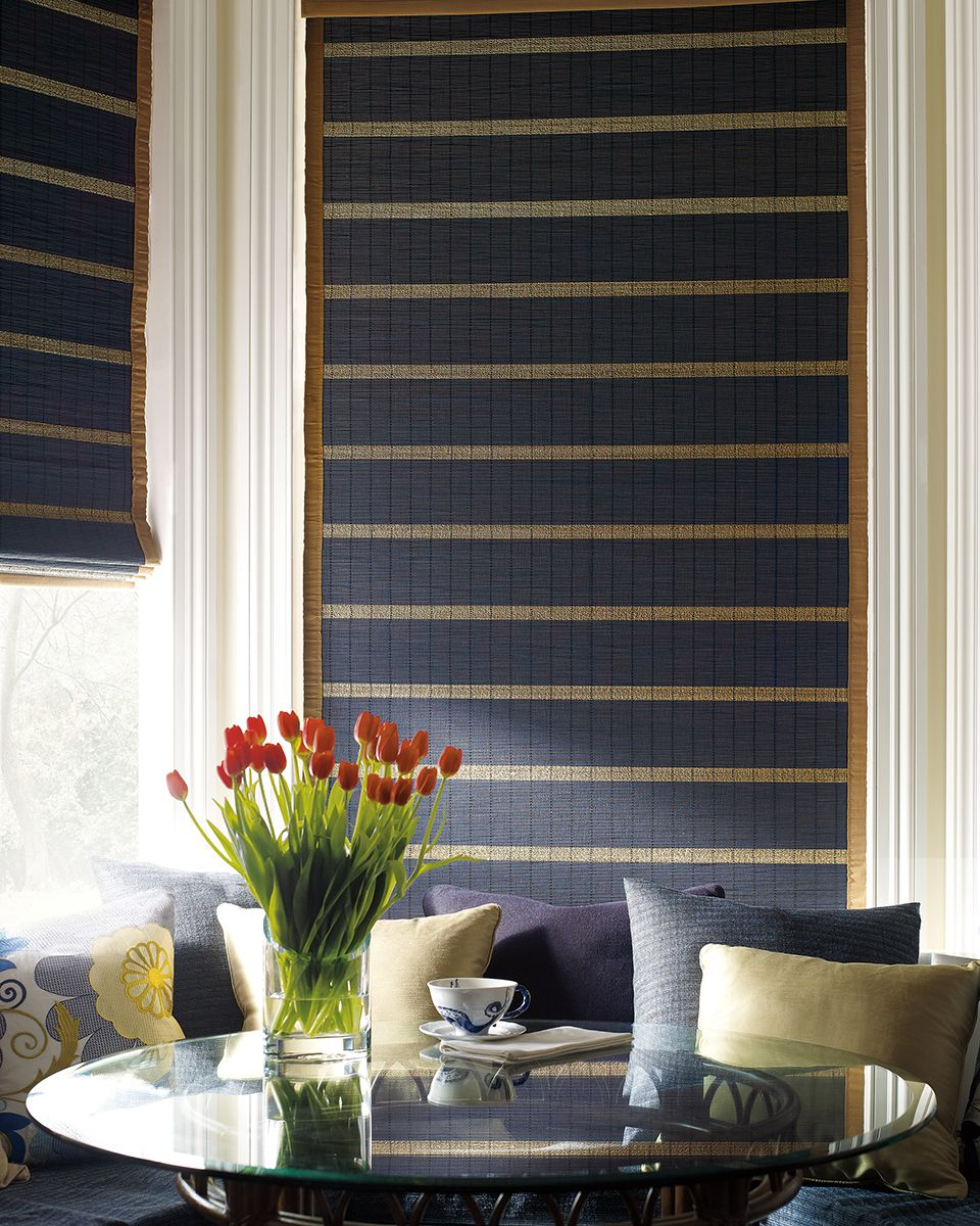 Gorgeous Navy Blue And Gold Mix For This Bamboo Shade To