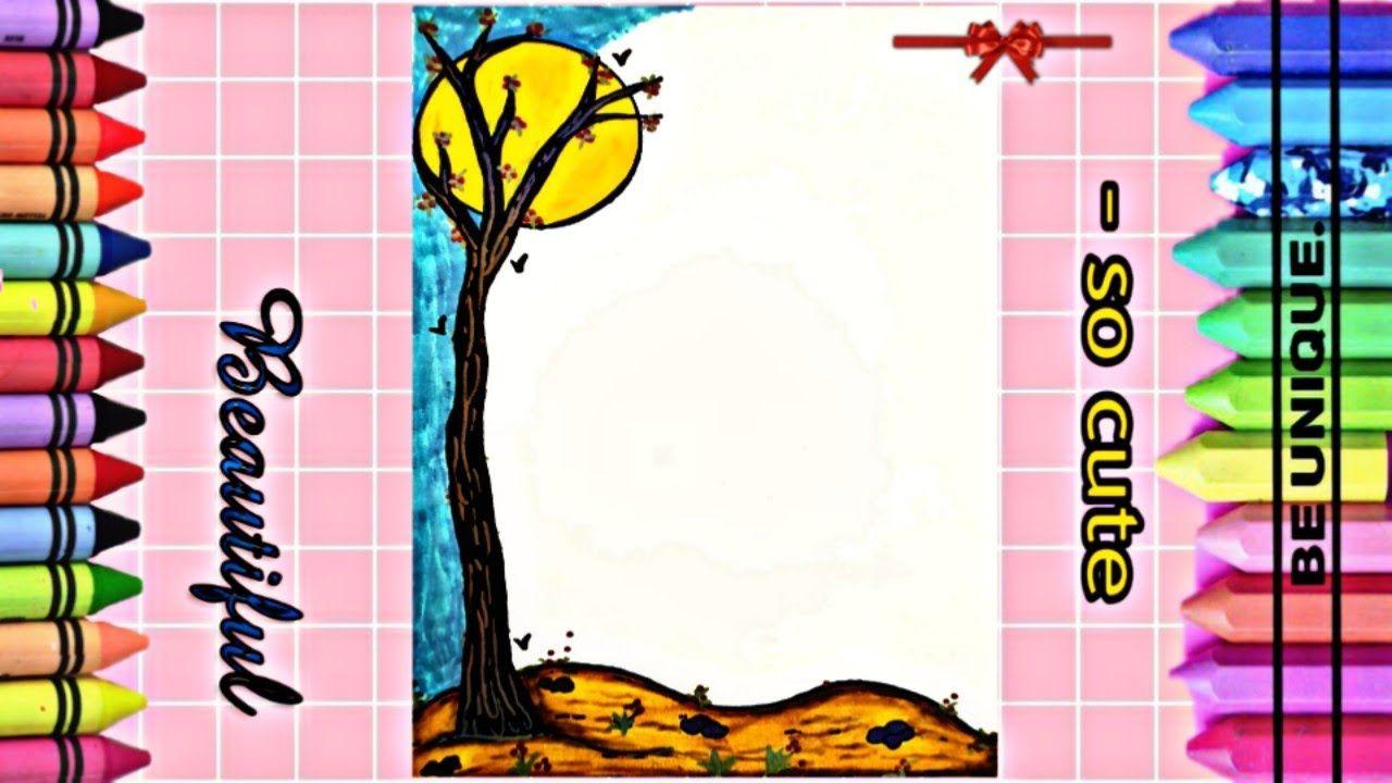 Drawing To Decorate Notebook The Moon تزيين دفاتر مدرسة من الداخل عل Cute