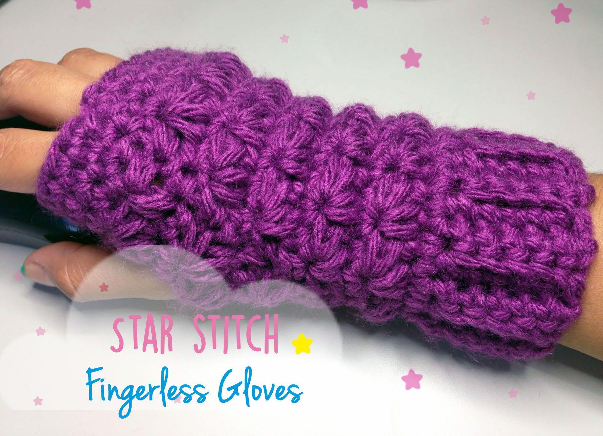Free pattern! Video tutorial - Star Stitch Fingerless gloves ...