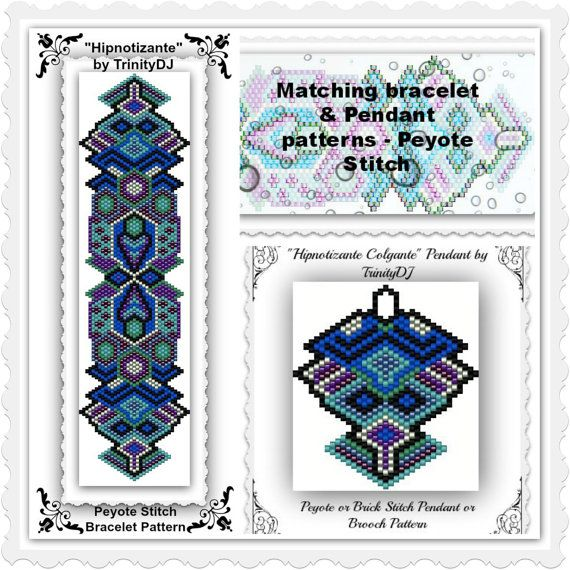 BP-GEO-040 - Hipnotizante - Peyote stitch bracelet pattern - One of a kind In The Raw design
