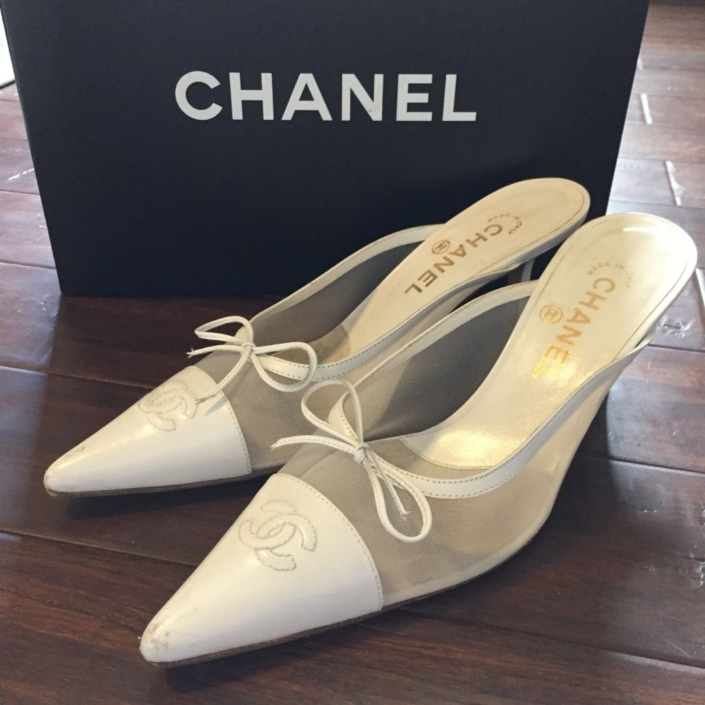 CHANEL Shoes | Authentic Chanel White Kitten Heels | Color: White | Size: 9 #whitekittens