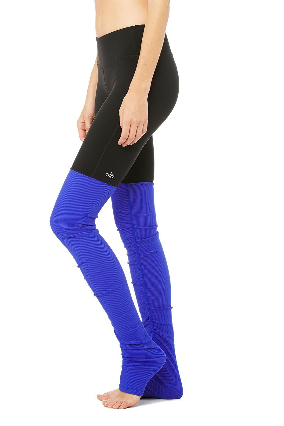 "Goddess Legging - Black/Deep Electric Blue - Sale Bottoms - <span class=""text-danger"">Sale</span> at ALO Yoga"