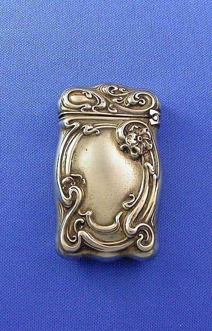 g silver match safe floral motif art nouveau wm schimper from mrvesta on ruby lane crazy. Black Bedroom Furniture Sets. Home Design Ideas