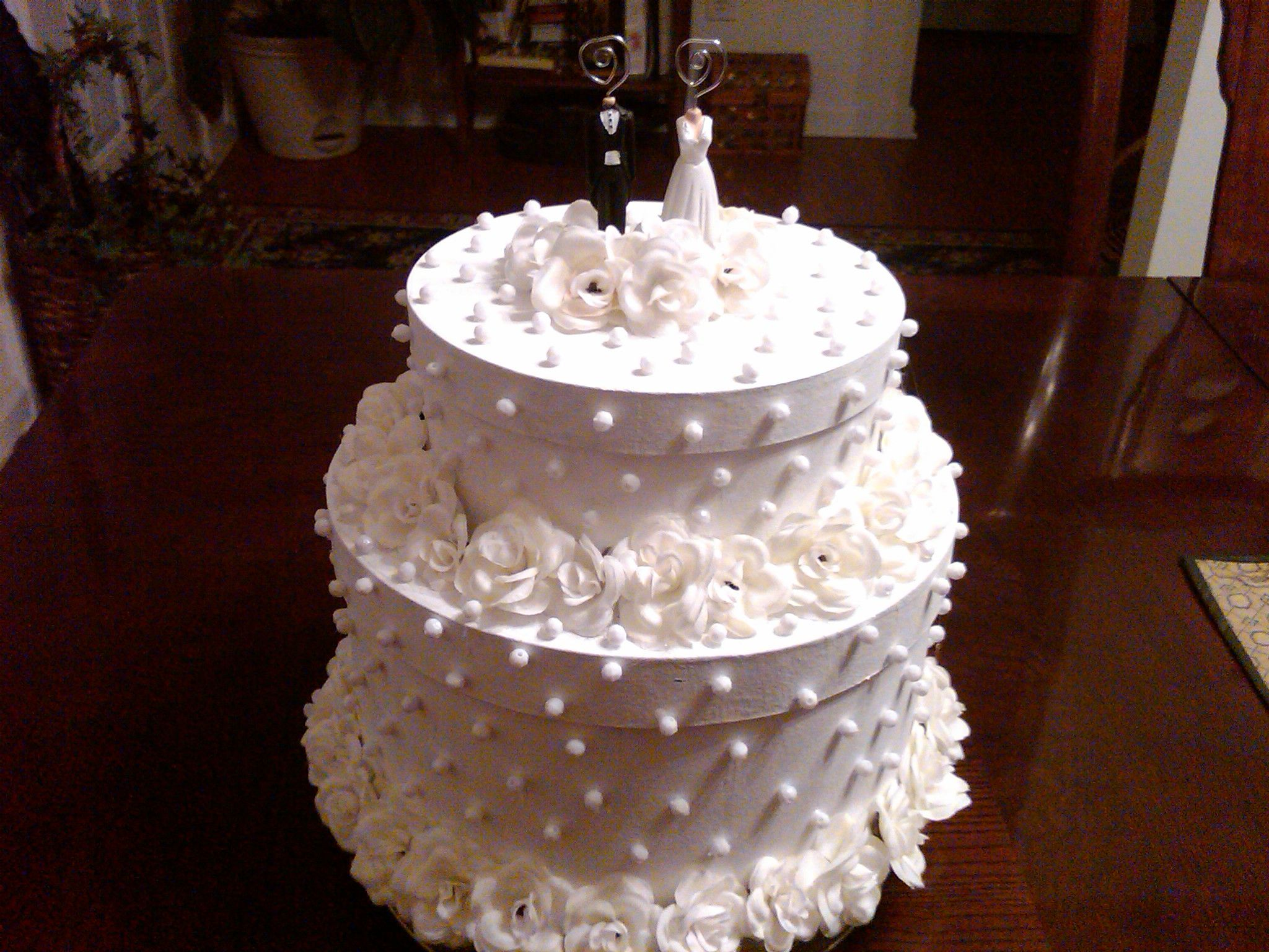 Wedding Cake money box made of paper mache boxes painted and