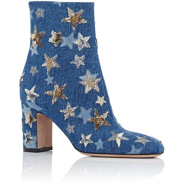 Valentino Women's Embellished Ankle Boots (1,435 CAD) ❤ liked on Polyvore featuring shoes, boots, ankle booties, ankle boots, blue booties, blue ankle boots, short high heel boots, high heel ankle booties and high heel boots