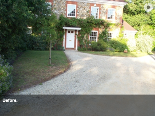 Neo Georgian neo-georgian detached house with shared gravel driveway. http