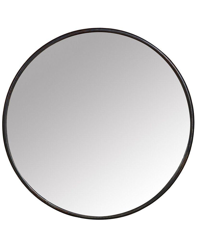 Mirrordeco Boudoir Wall Mirror Black Round Metal Frame Dia 25cm