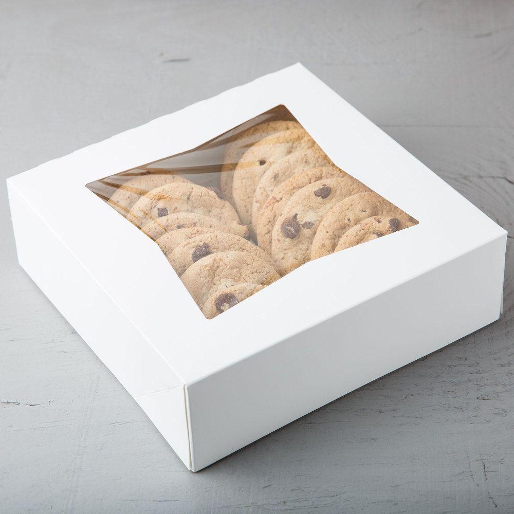 8 x 8 x 2 12 white autopopup window pie bakery box
