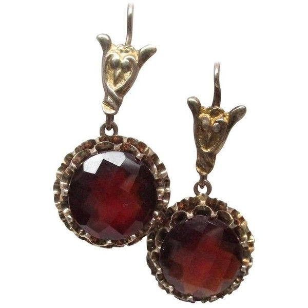 Preowned Edwardian Gold Garnet Drop Earrings (€4.915) ❤ liked on Polyvore featuring jewelry, earrings, drop earrings, multiple, antique gold jewellery, gold jewelry, antique garnet earrings, garnet drop earrings and garnet earrings