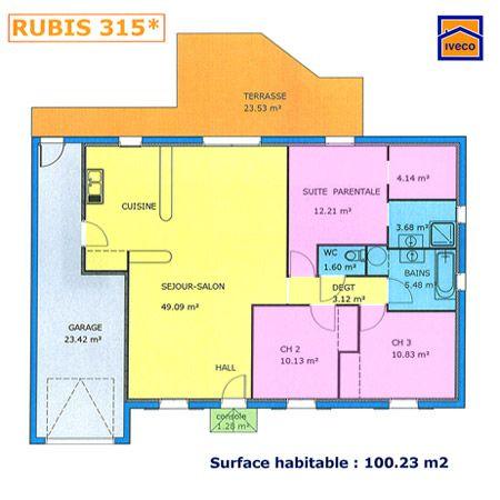 Plan maison plein pied 2 chambres ev pinterest house - Plan maison plein pieds ...