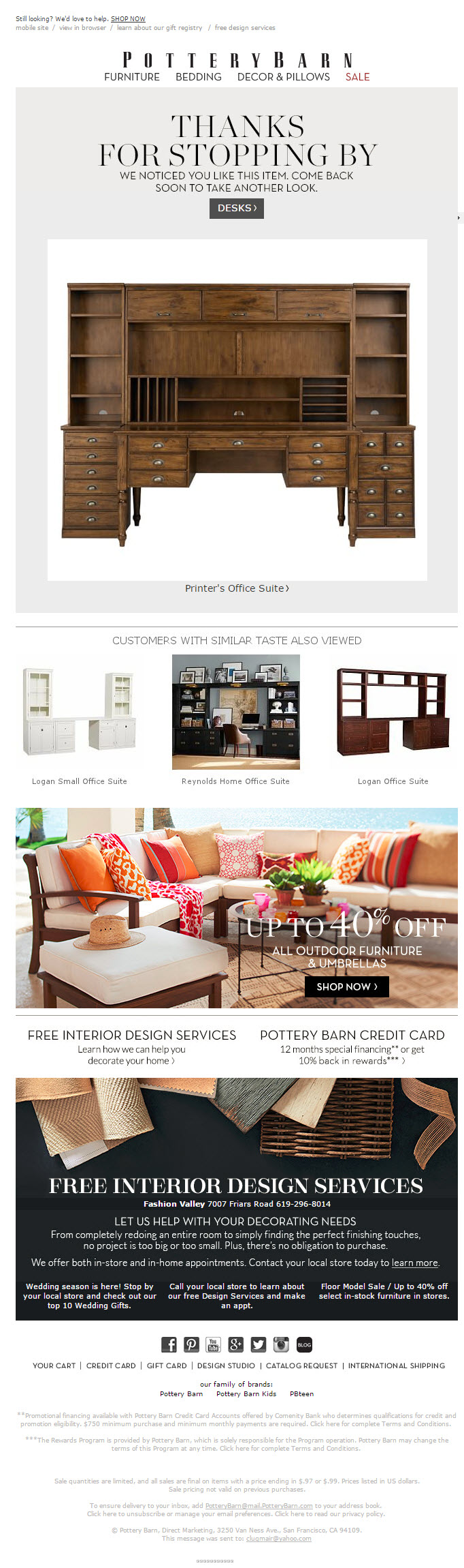 Browse abandon for pottery barn Email marketing