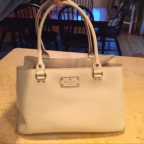 Kate Spade White Bag Kate spade white bag with polka dot inside. 2 sections and 2 zippered pockets. Kate Spade Bags Totes