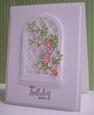 """DIY trellis inside Small Arched Madison Window frame (cut 3 windows, cut out middles, then glue 1/8"""" strips on the diagonal one way to 1st frame, glue 2nd frame to outside, then weave strips the other way, glue 3rd frame to outside)"""