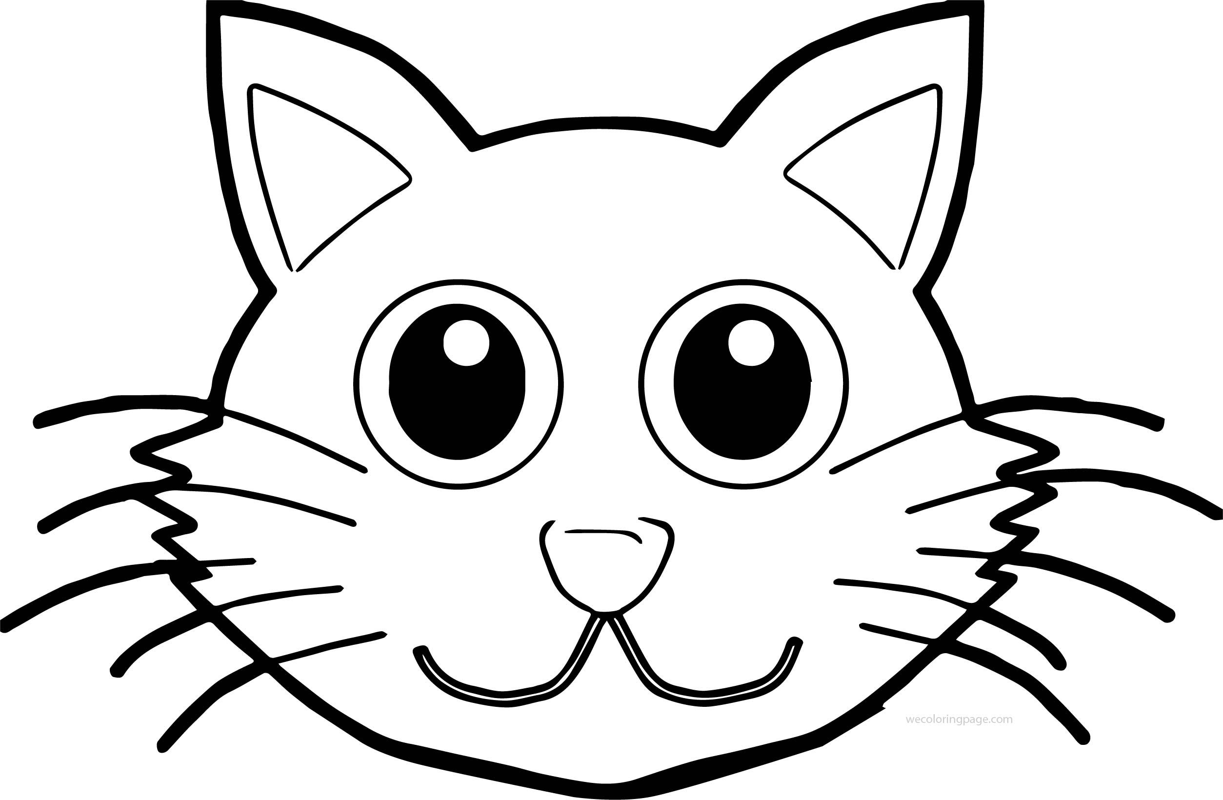 Awesome Cat Face Front Coloring Page