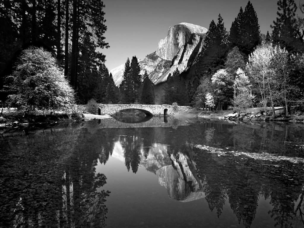 Yosemite Valley Bridge | Ansel adams, Black and white landscape ...