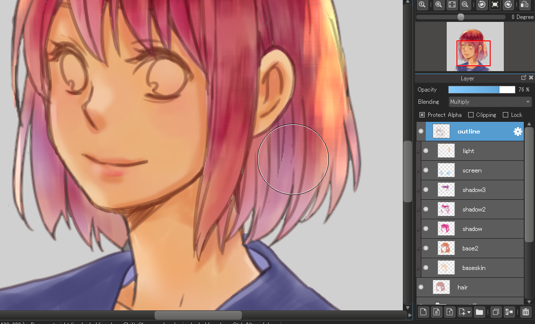 Color Hair With The Watercolor Brush Medibang Paint Digital Portrait Art Digital Art Anime Digital Painting Tutorials