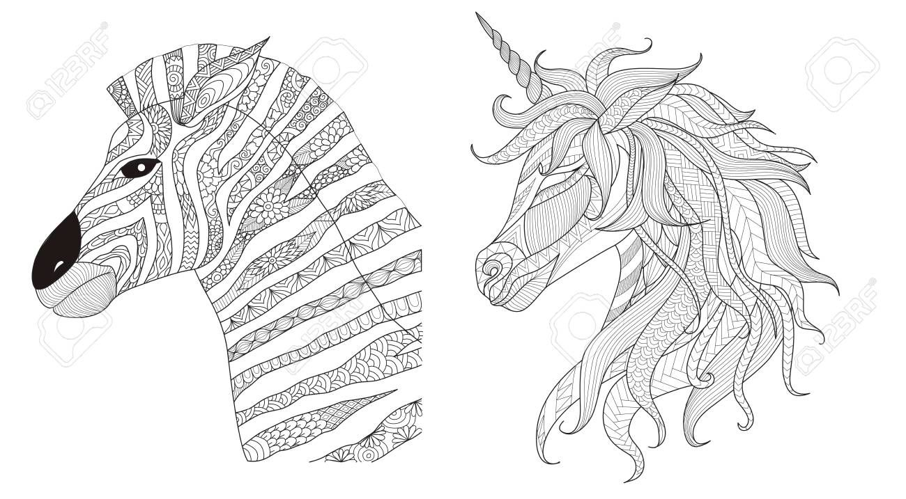 Zebra and unicorn stylize for print and coloring book for