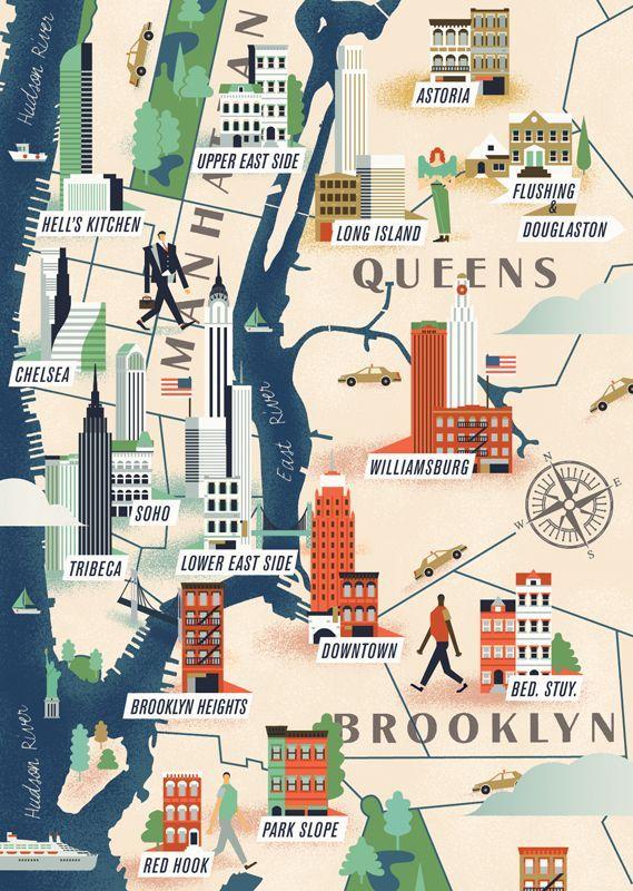illustration #art #map #usa #newyork #queens #brooklyn | NYC ...