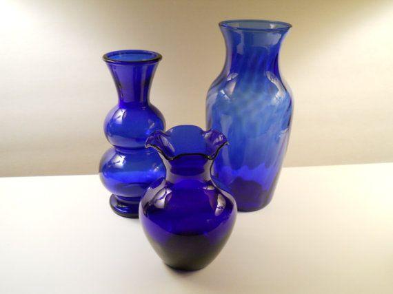 3 Vintage Cobalt Vases Bubble Vase Fluted Vase Swirl Vase
