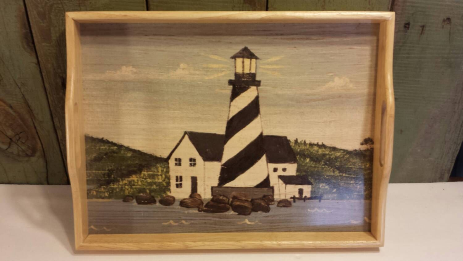 Wooden Serving Tray with Lighthouse Motif by 3OaksTreasure on Etsy
