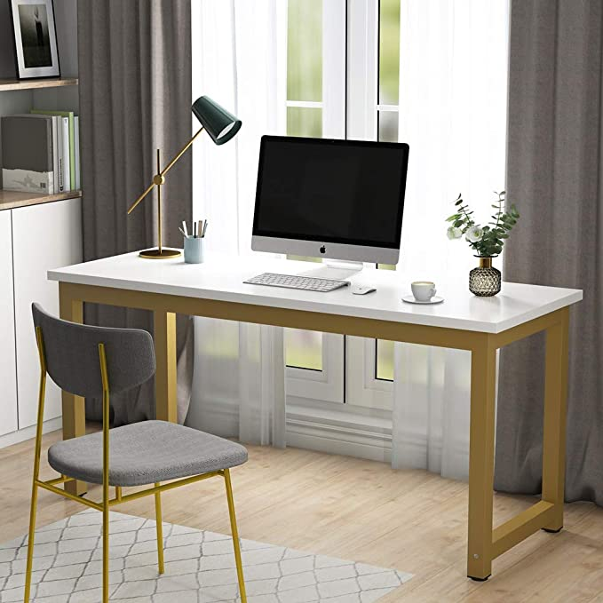 Amazon Com Tribesigns Computer Desk 63 Inch Large Office Desk Study Writing Table For Home Office Easy In 2020 Large Office Desk White Desk Office Gold Office Desk