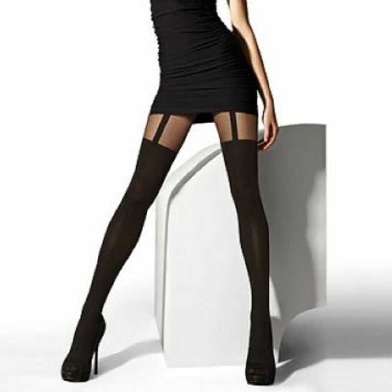 53e955cbbd2 MOCK SUSPENDER SHEER OPAQUE OVER THE KNEE TIGHTS QUALITY HOSIERY FAST FREE  POST  OPAQUE