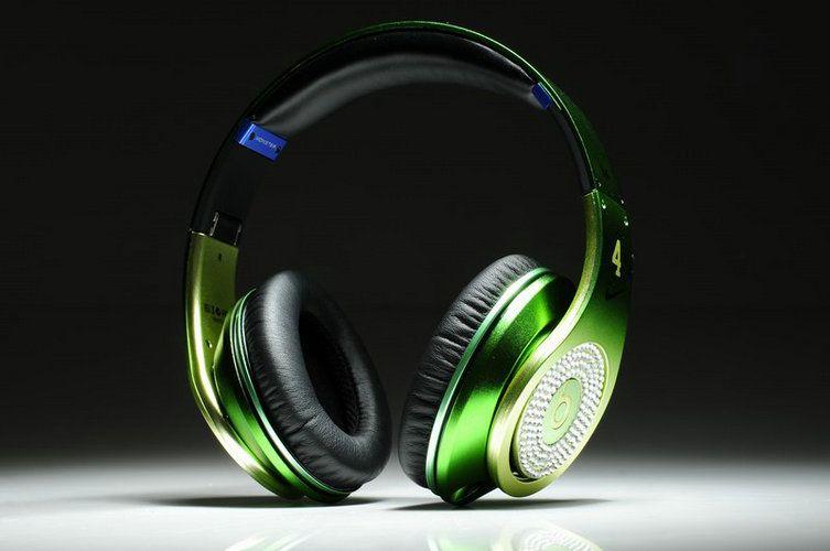 Cheap Beats By Dre Studio White Diamonds Green Apple  $159.95