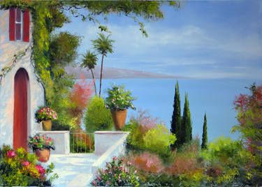 """Saatchi Art Artist Elena Lukina; Painting, """"Sunny terrace"""" #art"""