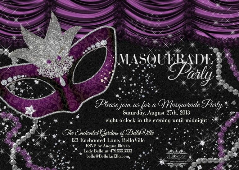 Free Masquerade Party Invitation Templates Party Ideas Pinterest