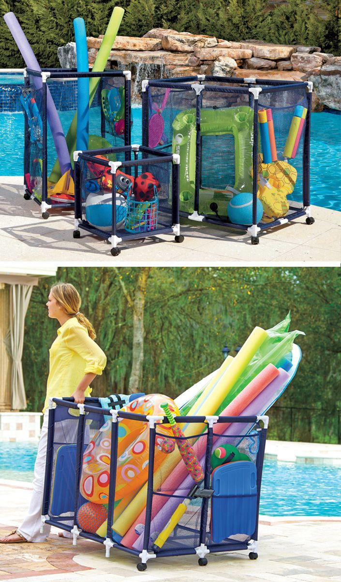 These Mesh Pool Toy Storage Bins Are Large Enough To Hold Everything From Pool Noodles To Inflated Large Rafts Casters Pool Toy Storage Pool Toys Pool Storage