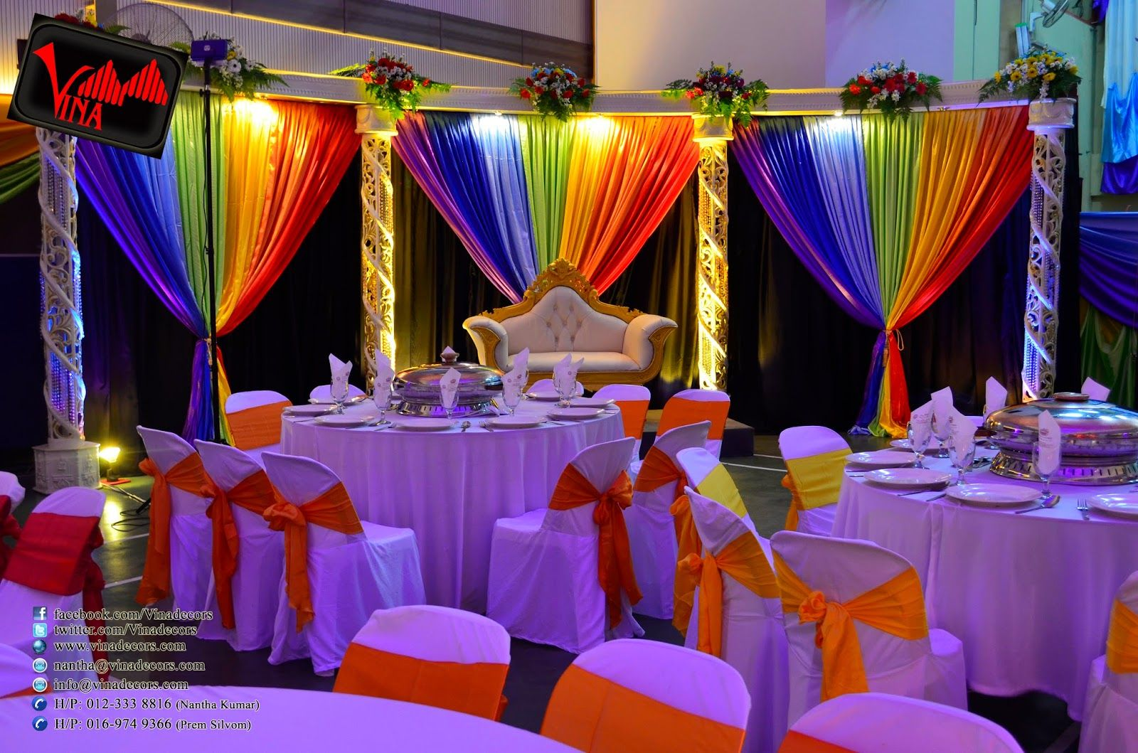 rainbow color concept wedding dinner decoration at srjk (c) batu