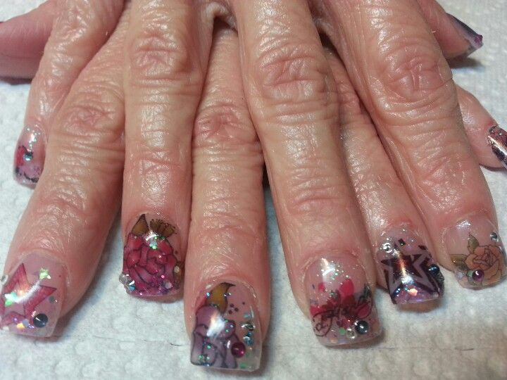 Ed hardy tattoo acrylic nails | Eva Hastings-manicurist, nail artist ...