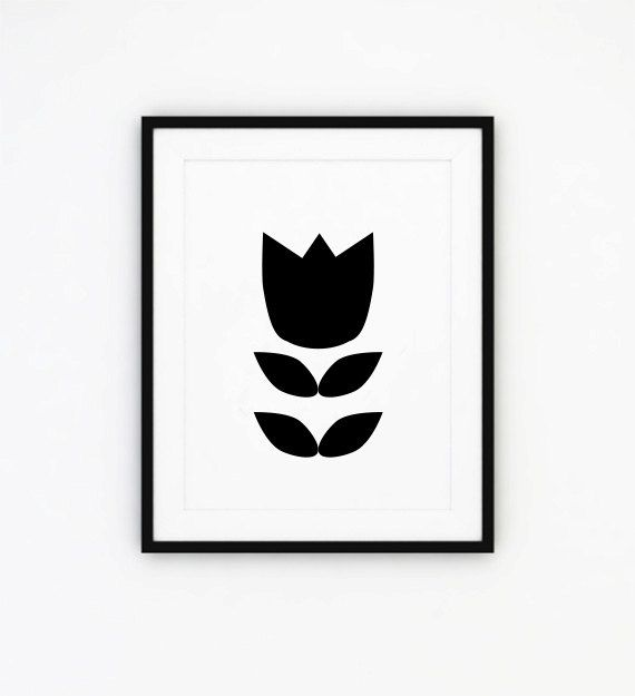 Flower print black and white print 5 x 7 in 8 x 10 by ishtarprints